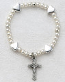 Baby Heart Stretch Bracelet w/Cross