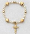 Gold Baby Stretch Bracelet w/Cross