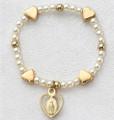 G/SS Baby Heart Medal Stretch Bracelet