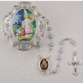 Guardian Angel Light Blue Rosary W/Box