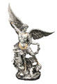 St. Michael, pewter style finish, golden highlight