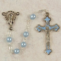 5mm Ink Glass Rosary With Blue Enamel Crucifix, Gift Boxed