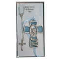 Blue Guardian Angel Cross and Rosary Set - Boy