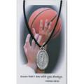 "Boys Basketball Medal on 24"" Black Leather Cord"