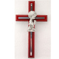 Cherry with Silver Boy Cross 6""