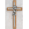 Oak and Silver Praying Boy Cross 7""