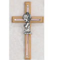 Oak and Silver Praying Girl Cross 7""