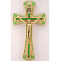 "Oak Crucifix with Shamrocks 6"""
