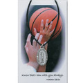 "Girls Basketball Medal on 18"" Black Leather Cord"