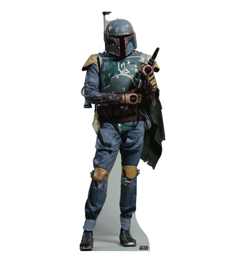This life-size cardboard cutout of Boba Fett from Star Wars stands at a size of 6′ 2″. Boba Fett is a bounty hunter hired by Darth Vader. He is one of the antagonists of the film. Boba is the clone of Jango Fett, but he was raised as his son. Boba Fett is a memorable and popular Star Wars character. Purchase his cardboard standup toay!