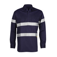 Men's 100% Bamboo Work Shirt (certified) with Reflective Tape - Navy (1005M)