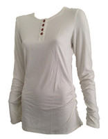 Women's Bamboo Henley Long Sleeve Shirt - Natural