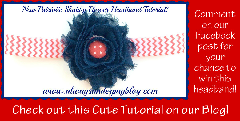 Patriotic Shabby Flower Headband Tutorial