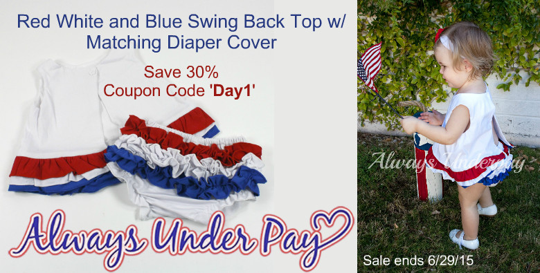 Red White and Blue Swing Back Top w/ Matching Diaper Cover