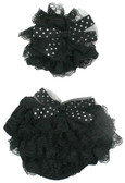 Black Tulle Bow Lace Hat and Diaper Cover Set