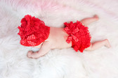 Tulle Bow Lace Hat and Diaper Cover Set Red