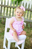 Light Pink Chevron Satin Romper Baby Model