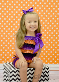 Orange, Black, and Purple Halloween Lace Romper