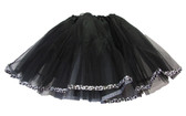 Black Leopard Animal Ribbon Lined Dance Tutu