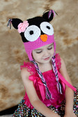 Hot Pink & Black Owl Animal Crochet Hat
