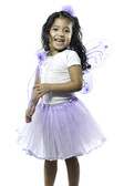 Lavender Butterfly Wings with Lavender Ribbon Lined Tutu, Butterfly Wand and Marabou Hair Puff