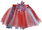 Patriotic Shredded Tutu with Matching Hair Clip