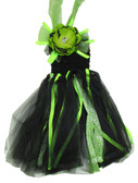 Black Lime Green Peony Glitter Tutu Dress
