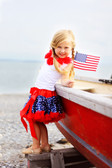 Navy White Stars Red Trim Patriotic Print Pettiskirt