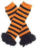 Black and orange stripes with black ruffles Halloween holiday leg warmers