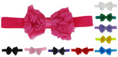 Assorted Rosette Bow on Fold Over Elastic Headbands