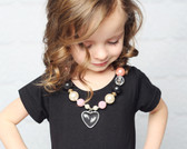 Pink & Black Bubble Gum Chunky Necklace with Heart