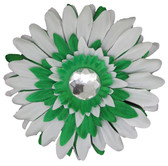 Green & White Gerber Daisy Flower Clip
