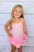 Light pink dance and gymnastics skirted leotards