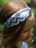Gray Chevron Turban Headbands