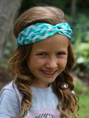 Green Chevron Turban Headbands