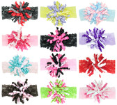 Assorted Wide Lace Headbands with Korker Bows
