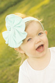 Big Jersey Knit Bow on Cotton Headband Aqua