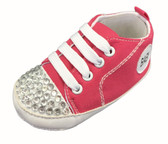 Hot Pink Baby Sneaker Crib Shoes With Rhinestone