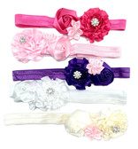 Assorted Satin Flower Fold Over Elastic Headbands For Girls