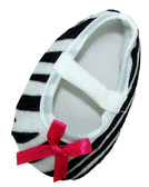 Zebra Crib Shoes with Hot Pink Bow