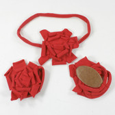 Red Cotton Flower on Red Skinny Headband with Shoes