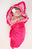 Hot Pink Chevron Print Minky Baby Blanket Model