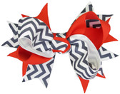Navy Blue Chevron & Red Double Tied Bows