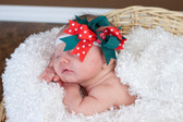 Green & Red with White Dots Double Tied Bows on Baby
