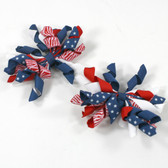 Red, White & Blue Curly Mini Korker Bows