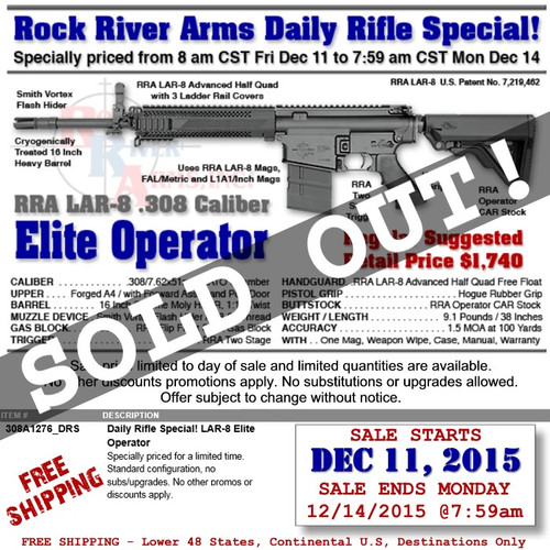 "RRA 308A1276_DRS LAR-8 Elite Operator 16"" A4 7.62/.308 DAILY RIFLE SPECIAL!"