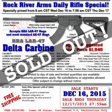 "RRA AK1291_DRS LAR-47 Delta Carbine 16"" 7.62x39 DAILY RIFLE SPECIAL!"