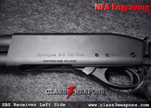 NFA Engraving Text SBS Short Barrel Shotgun Style Receiver Services
