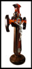 Church Militant St. Benedict Crucifix with Table Stand, solid wood of walnut and bloodwood  (Side view)