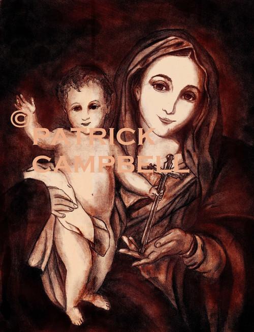 Madonna of the Cross , Pencil Art, Signed Copy, Print on Foam Board